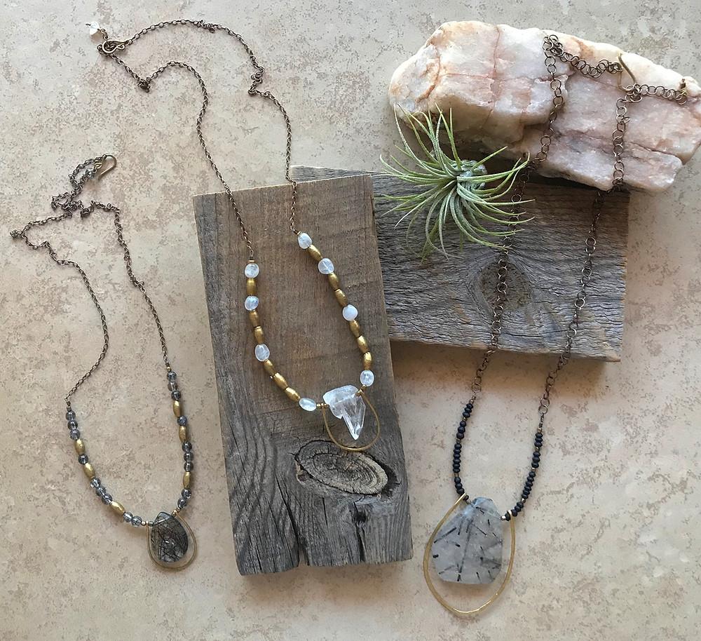 Quartz Crystal & Tourmaline Quartz Jewelry by Christina Holland Designs