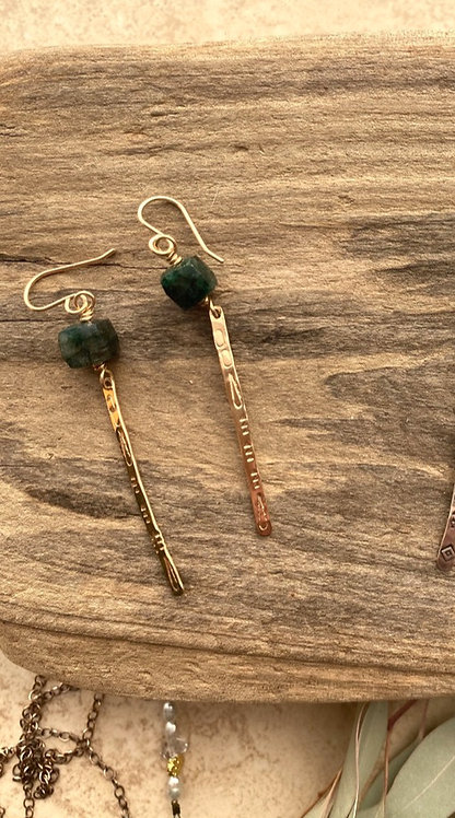 Sticks & Stones: Green Labradorite & Gold fill Earrings