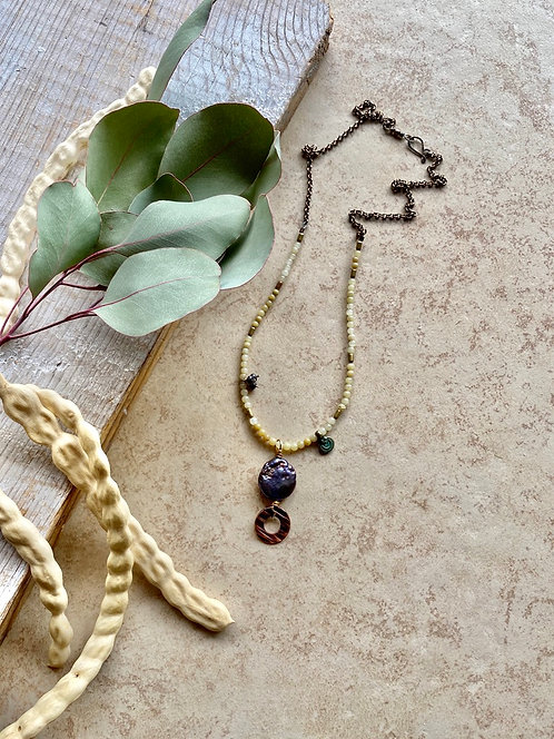 Copper Creations: Pearl & Opal Necklace