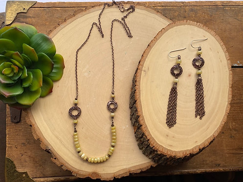 Copper Creations: Yellow Opal Necklace & Earrings
