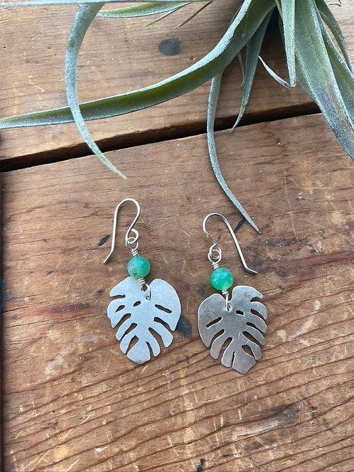 """Silver Elements: Jade """"Monstera"""" Earrings"""