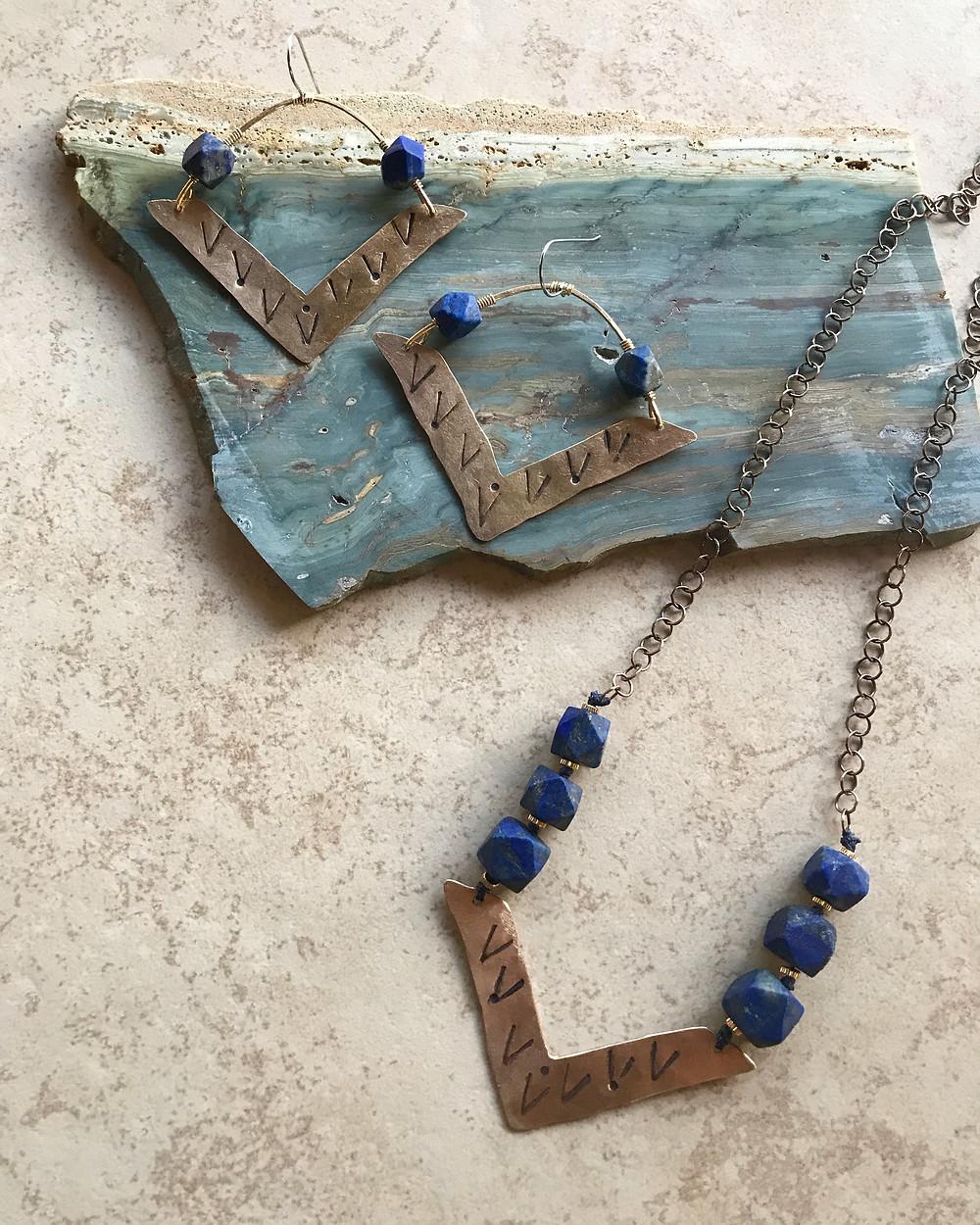 Brass Elements in Lapis Lazuli, hand-cut, hand-stamped.