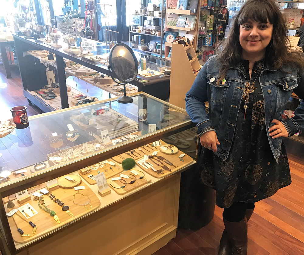 Yours truly, Christina Holland, w/my jewelry collection at CorAzoN on Selby Ave