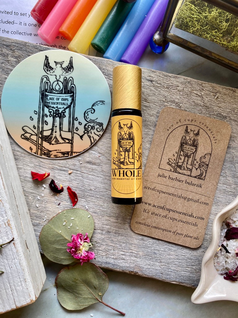 """10ml roller bottle of """"Whole"""" essentials oils blend by Ace of Cups Essentials."""