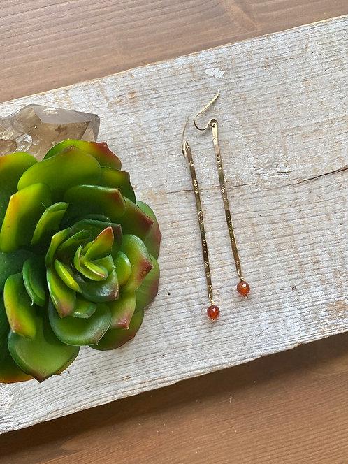 Sticks & Stones: Carnelian & Gold fill Earrings