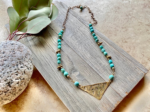 Brass Elements: Turquoise Necklace
