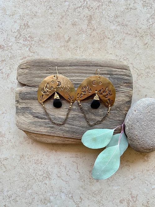 Brass Elements: Black Onyx Earrings