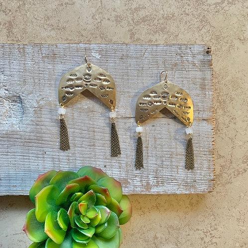 Brass Elements:  Moonstone Earrings