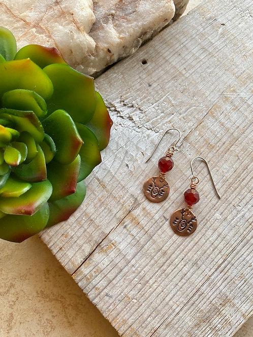 Copper Creations:  Carnelian Earrings
