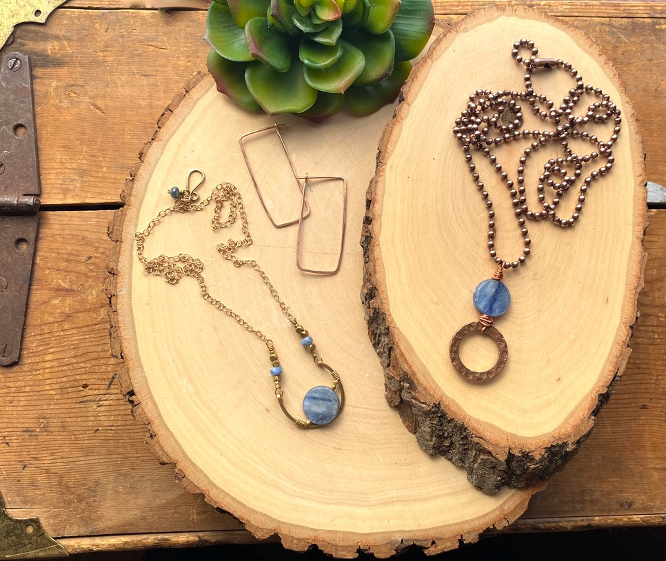 Handcraft jewelry by Christina Holland Designs. Rose Gold Hammered Hoops earrings, Kyanite & brass Hammered Hoops necklace, Kyanite & Copper Creations necklace.
