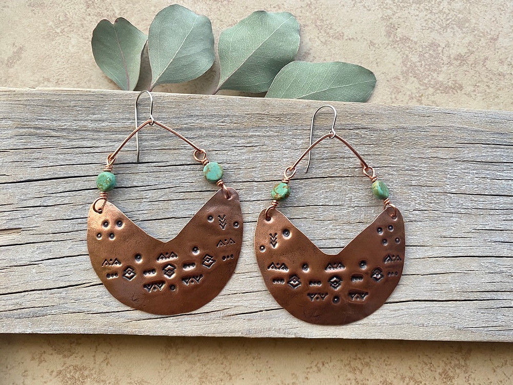Copper Creations stamped statement earrings in Turquoise, made by Christina Holland Designs