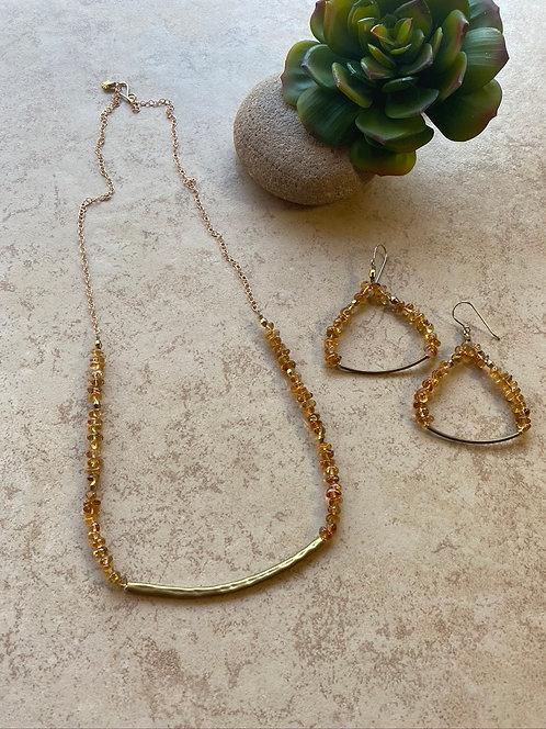 """Sticks & Stones """"Mesquite Beans"""": Citrine & Brass Necklace & Earrings"""