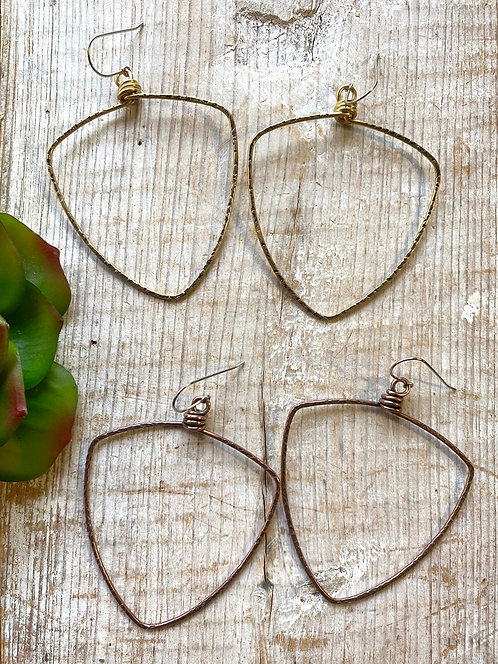Hammered Hoops: Textured Triangle-Shield Earrings