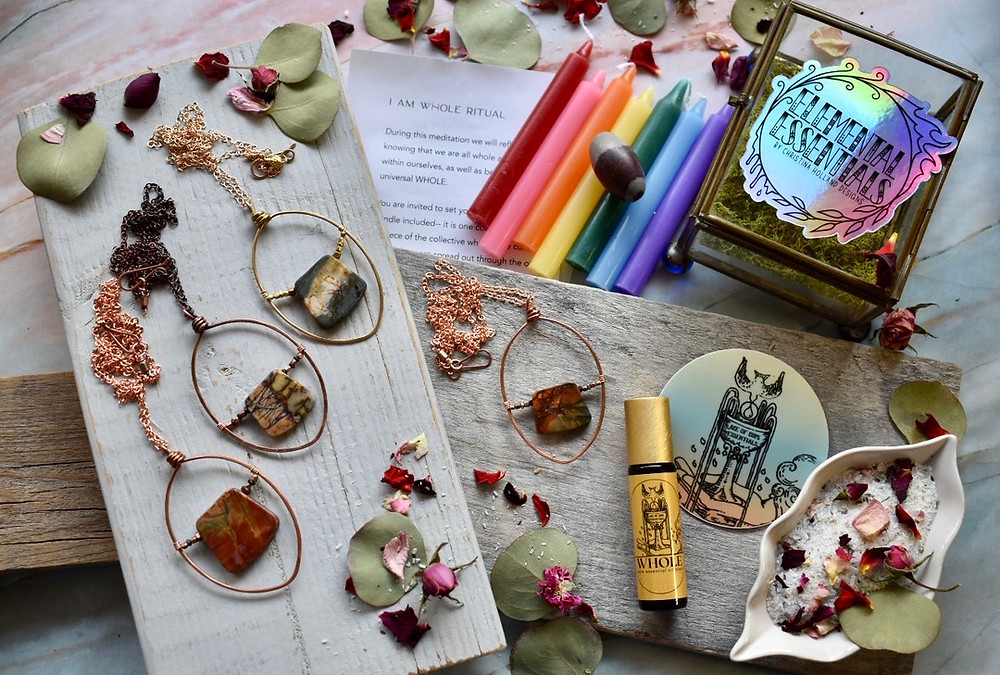 Hammered Hoops Necklaces by Christina Holland Designs. Whole Essential Oil roller by Ace of Cups Essentials. I am Whole Ritual kit by The Ninth House.