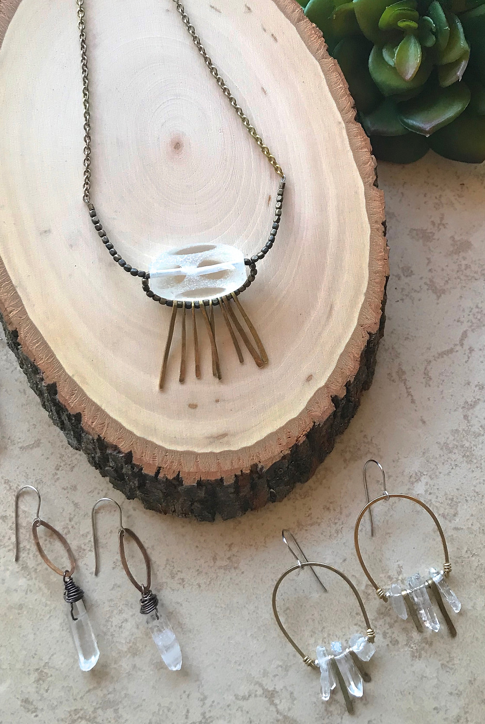 Clear Quartz Crystal Jewelry by Christina Holland Designs