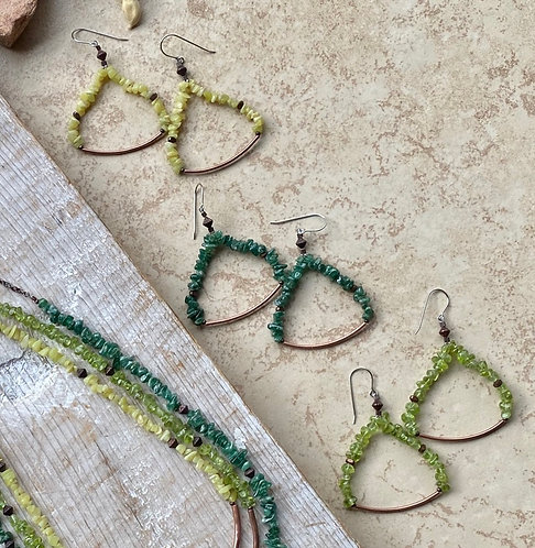 Sticks & Stones: Green Gemstone Earrings