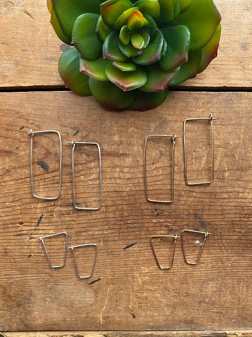 Hammered Hoops: Square Earrings