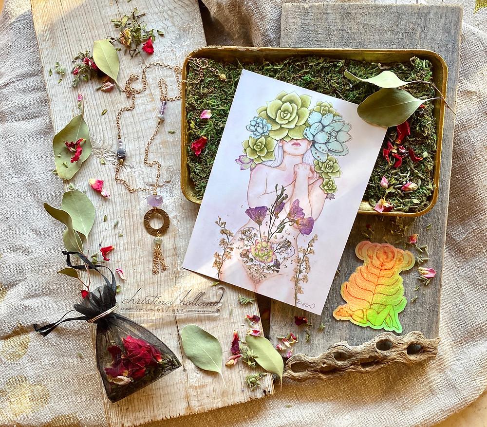 Jewelry by Christina Holland Designs, Print & sticker by Gina Beca