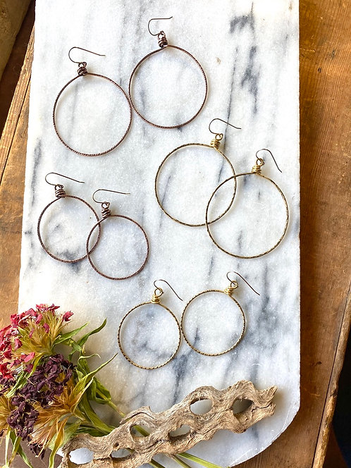 Hammered Hoops: Textured Brass or Copper