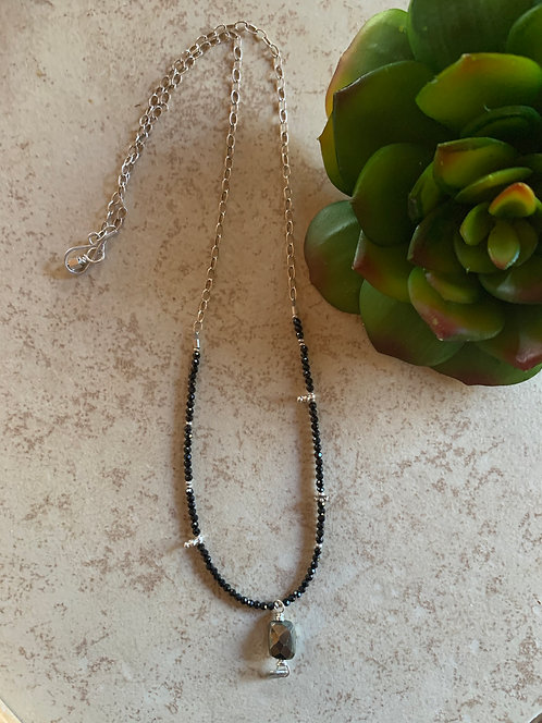 Silver Elements: Pyrite & Black Crystal Necklace