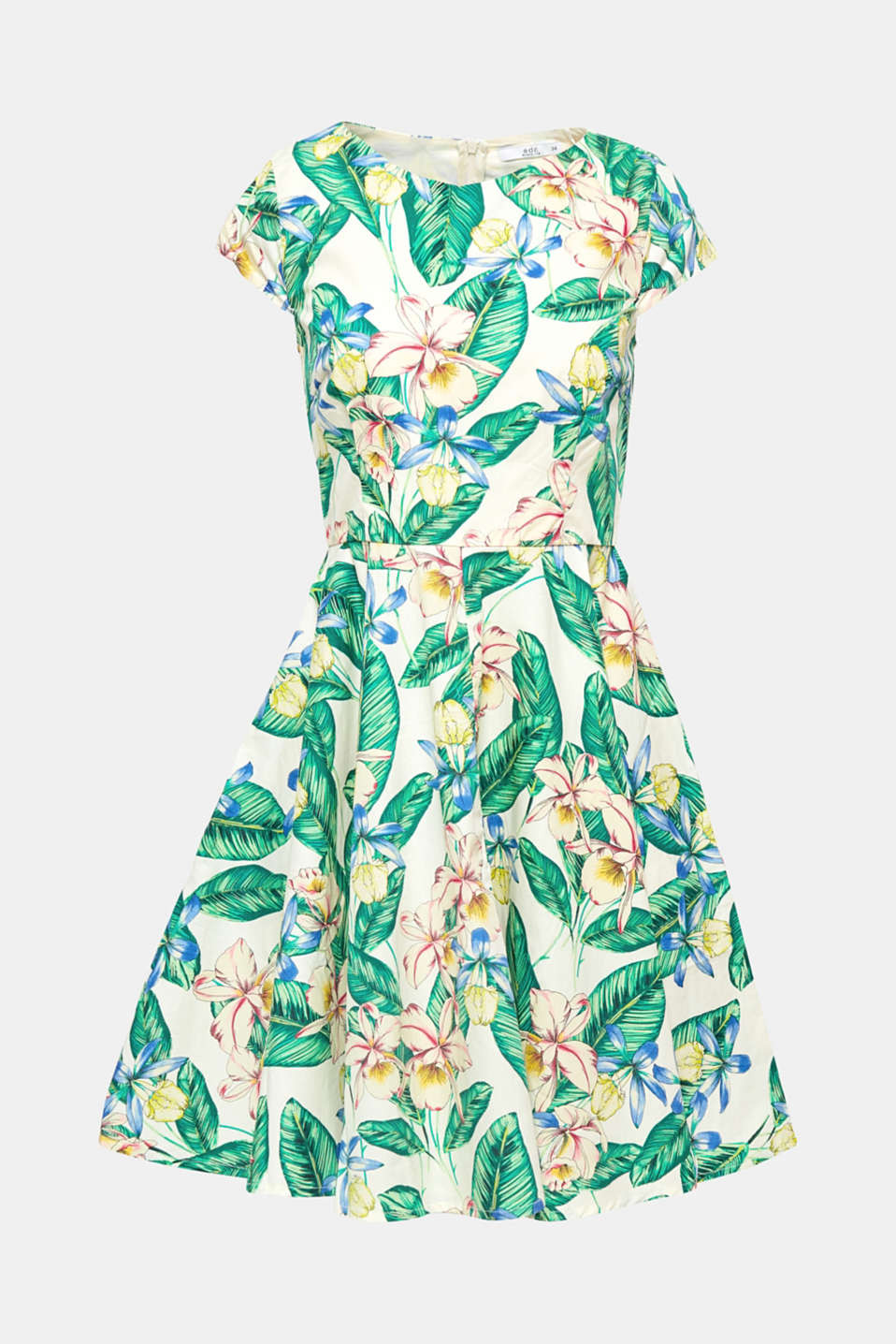 Cette robe doit son charme rétro tendance à sa silhouette oscillante et à son imprimé tendance composé de fleurs tropicales.