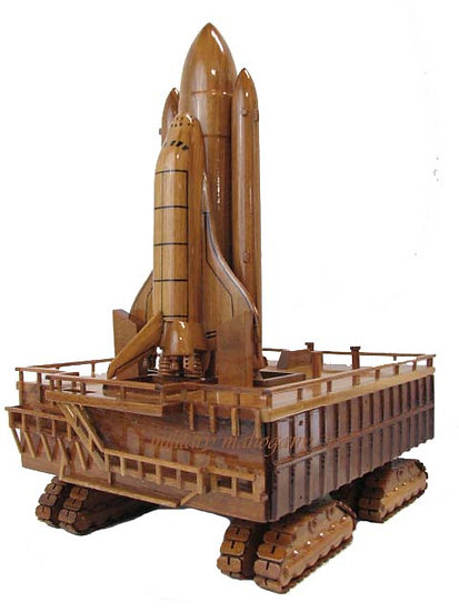 Space Shuttle with Crawler Transporter Pad Wooden Model
