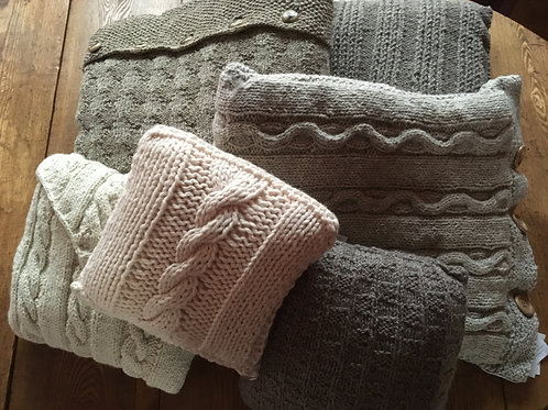 Handknit Covered Wool Throw Pillows