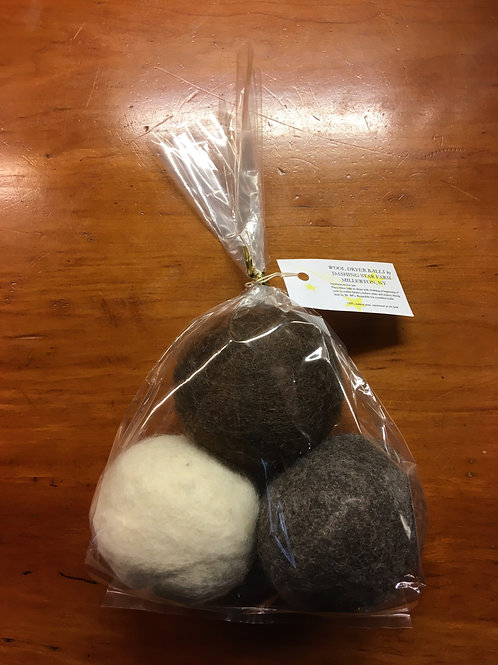 Felted Wool Dryer Balls (set of three)
