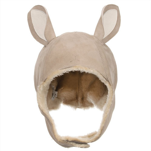 Beige Leather Bunny Hat