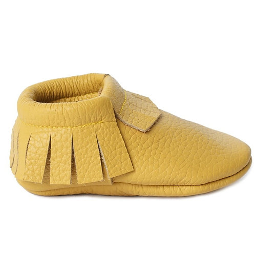 Baby Steps - Yellow Fringe Leather Mocs