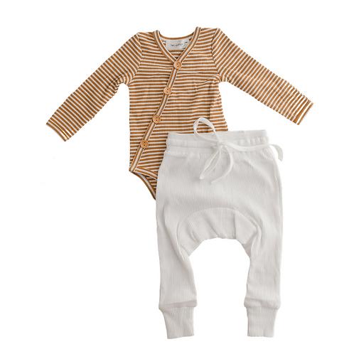 Mustard Stripe Bodysuit & Milk Harem Pants