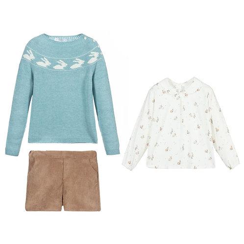 Paloma de la O - Blue Bunny & Beige Shorts Set