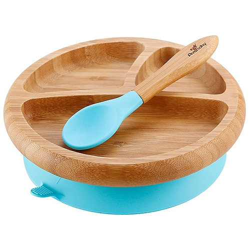 Bamboo Suction Toddler Plate + Spoon - Ocean
