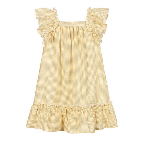 Mustard Yellow & White Checkered Dress