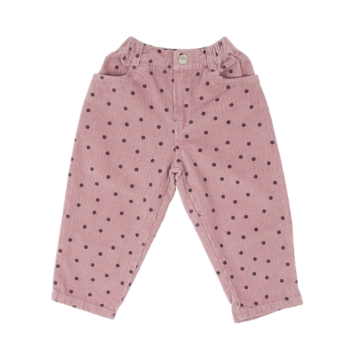 Corduroy Dot Pants - Pink