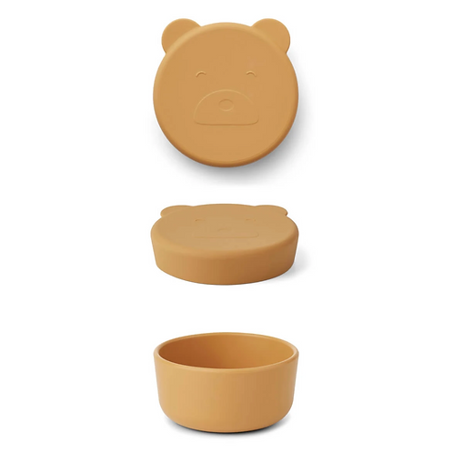 Mustard Mr Bear Silicone Snack Box - Small