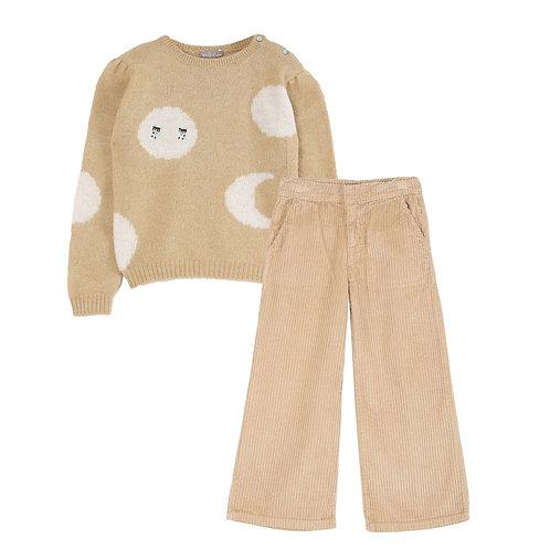Dune Wool Top + Cotton Beige Trousers Set