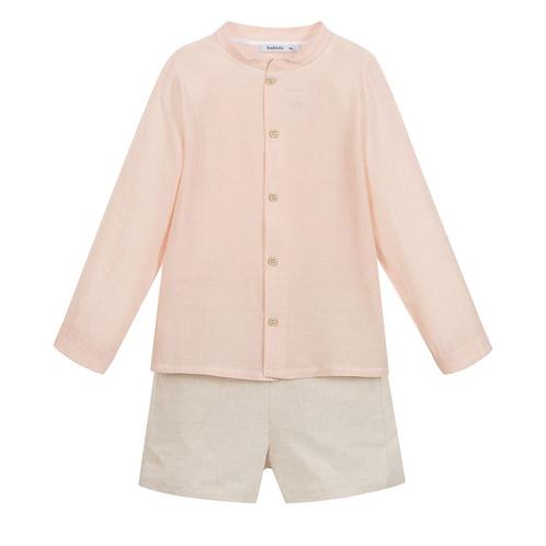 Pink Shirt & Beige Shorts Set