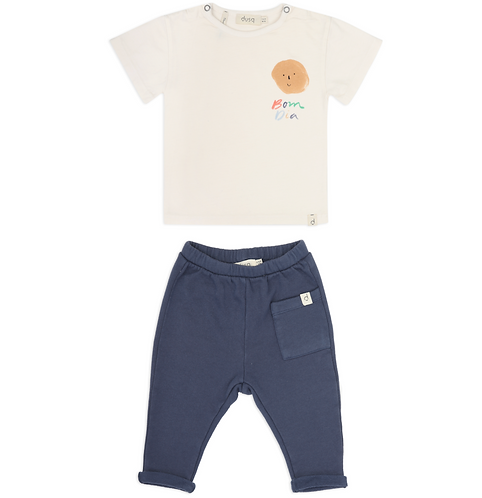 Bom Dia Natural Tee & Sea Blue Sweatpants