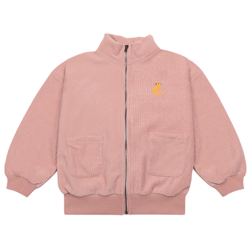 Pink Terry Towel Zipped Sweatshirt