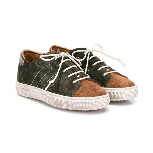 Pèpè - Contrast Khaki Leather Sneakers