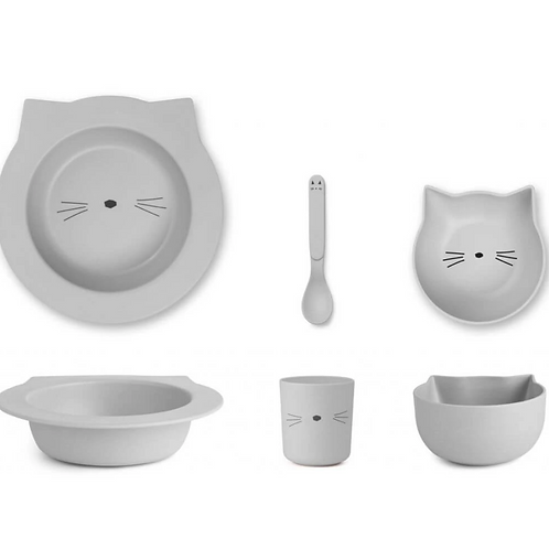 Dumbo Grey Baby Kitty Bamboo Tableware Set