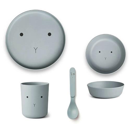 Sea Blue Bunny Bamboo Tableware Set