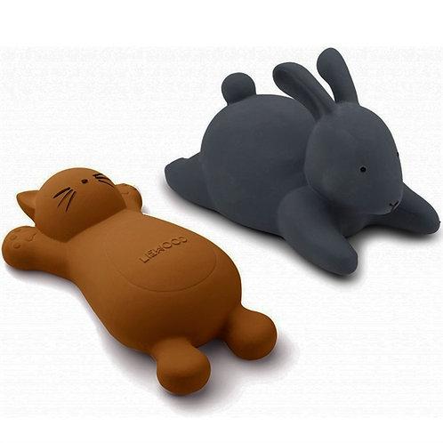Kitty & Bunny Bath Friends - Navy/Mustard