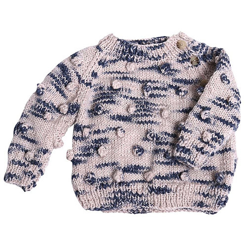 Hand Knit Bobble Navy Pullover