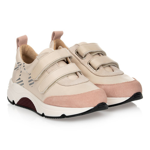 Bonpoint - Beige & Pink Leather Trainers