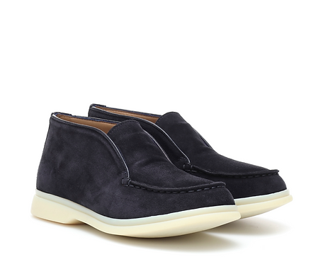 Loro Piana - Navy Open Walk Suede Ankle Boots