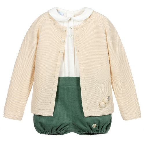 Artesania Granlei - Ivory & Green Shorts Set