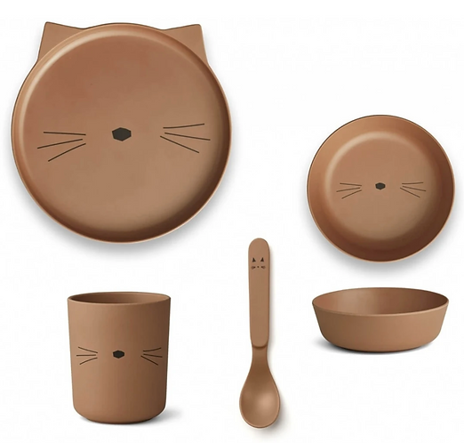 Terracotta Kitty Bamboo Tableware Set