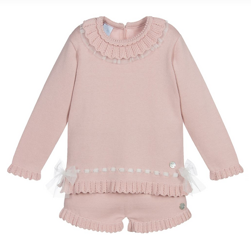 Pink Cotton Knit Short Set